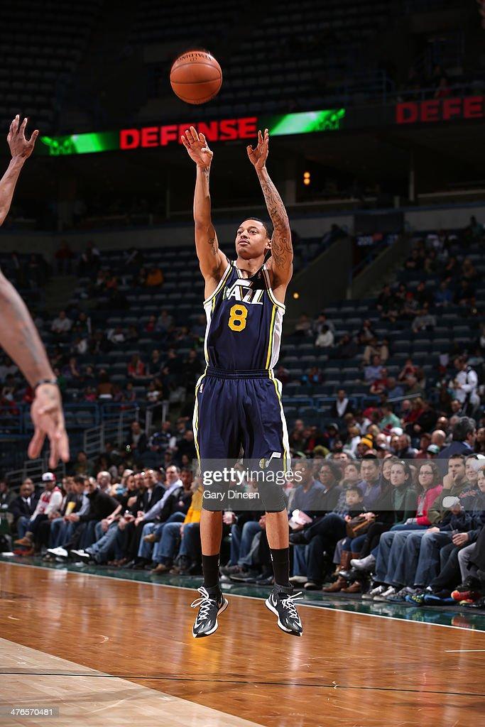 Diante Garrett #8 of the Utah Jazz shoots against the Milwaukee Bucks on March 3, 2014 at the BMO Harris Bradley Center in Milwaukee, Wisconsin.