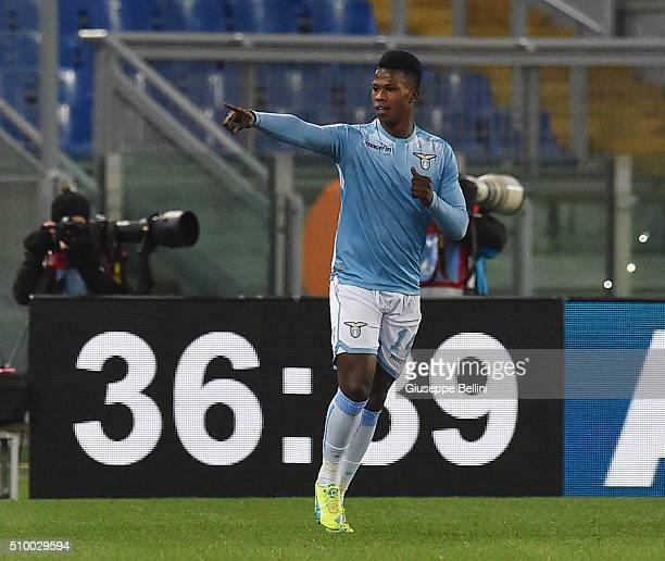 Diao Keita Balde of SS Lazio celebrates after scoring the goal 42 during the Serie A match between SS Lazio and Hellas Verona FC at Stadio Olimpico...