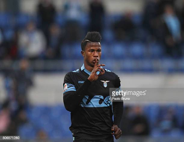 Diao Keita Balde of SS Lazio celebrates after scoring the team's fourth goal during the Serie A match between SS Lazio and AC Chievo Verona at Stadio...