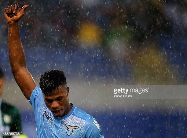Diao Keita Balde of SS Lazio reacts during the Serie A match between SS Lazio and Udinese Calcio at Stadio Olimpico on September 13 2015 in Rome Italy
