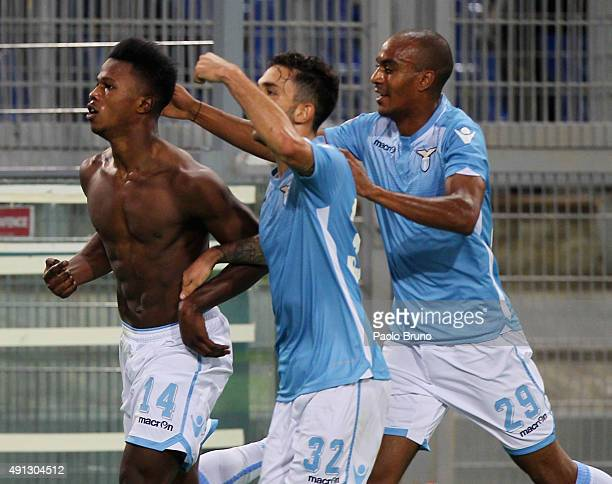 Diao Keita Balde with Danilo Cataldi and Abdoulay Konko of SS Lazio celebrates after scoring the opening goal during the Serie A match between SS...