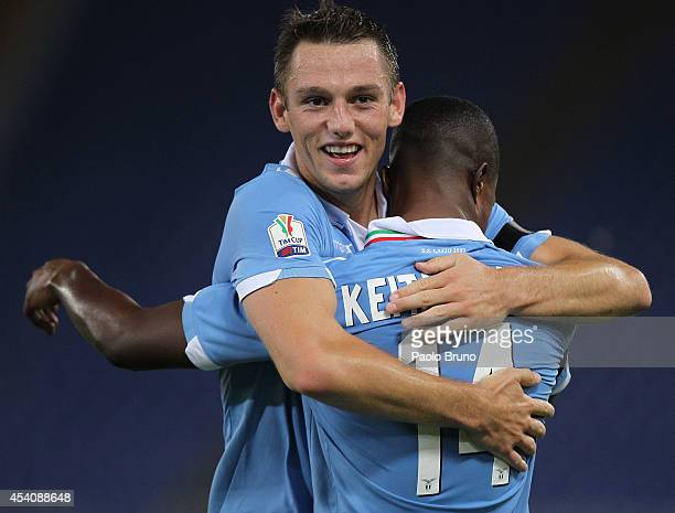 Diao Keita Balde with his teammate Stefan De Vrij of SS Lazio celebrates after scoring the second team's goal during the TIM Cup match between SS...
