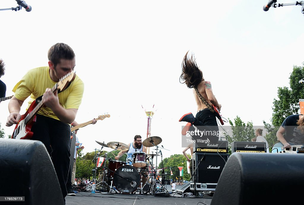 Diarrhea Planet performs during the 2013 Budweiser Made In America Festival at Benjamin Franklin Parkway on September 1, 2013 in Philadelphia, Pennsylvania.