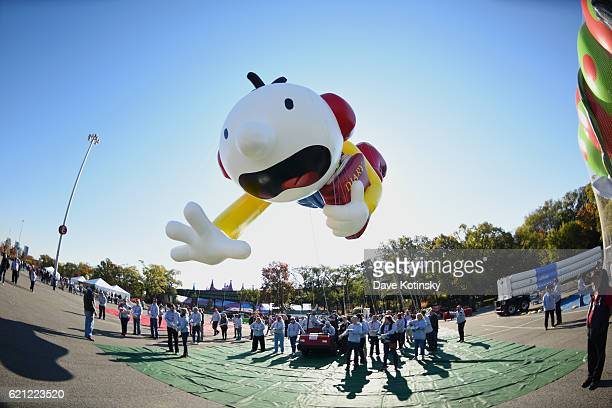 Diary of A Wimpy Kid flies at Macy's Balloonfest in preparation for the 90th Anniversary Macy's Thanksgiving Day Parade at Citi Field on November 5...