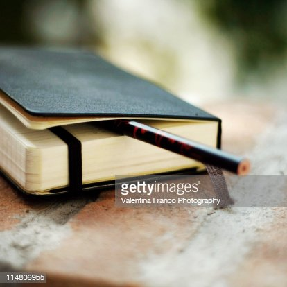 Diary with pencil in it : Stock Photo