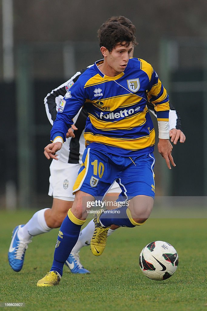 Dias Consulin of FC Parma in action during the Juvenile match between Juventus FC and FC Parma at Juventus Center Vinovo on November 21, 2012 in Vinovo, Italy.