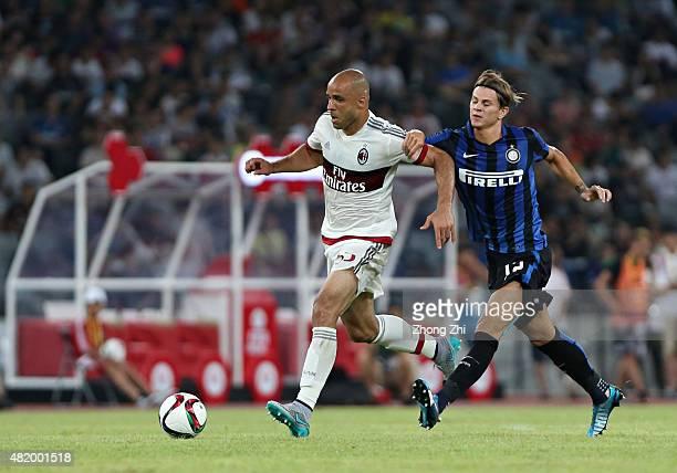 Dias Da Costa Alex Rodrigo of AC Milan competes the ball with Longo Samuele of FC Internazionale during the match of International Champions Cup...
