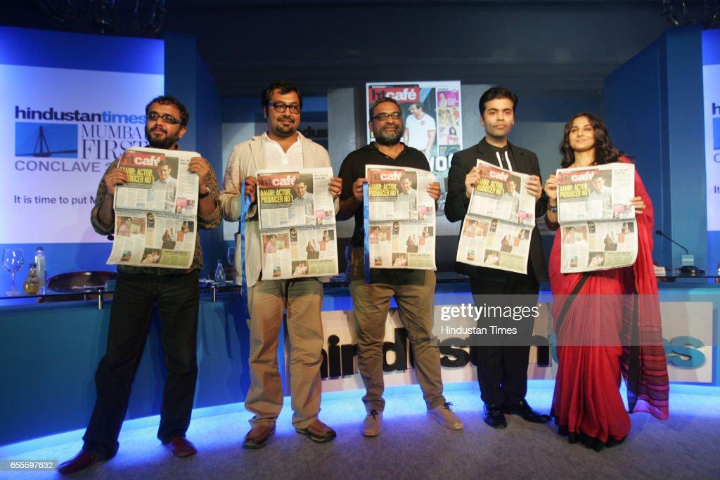 Dibakar Banerjee, Anurag Kashyap, R Balki, Karan Johar and Vidya Balan at the launch of the new HT Cafe Broadsheet.
