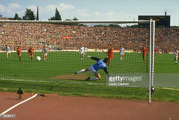 Dibarolomei of A S Roma scores during the European Cup Semi Final against Dundee United at the Olympic Stadium in Rome A S Roma won the match 30...