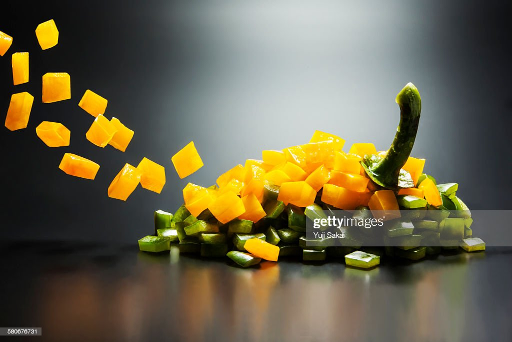 dice formed yellow & greeen  bell pepper forming
