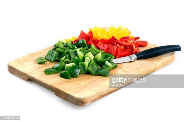 Diced Paprika on Cutting Board