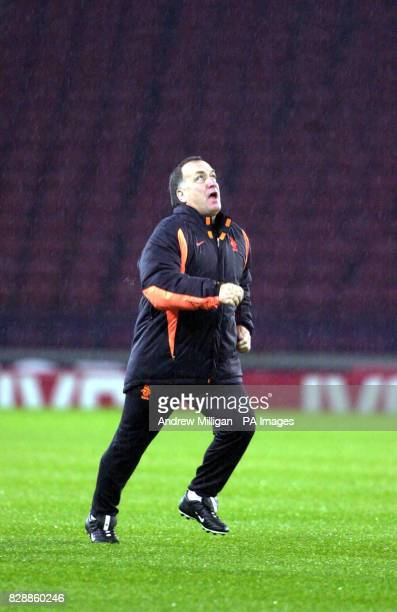 Dick Advocaat from the Holland National football team training at Hampden Park They are in Scotland for their Euro 2004 playoff football match...