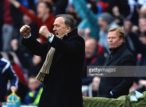 Dick Advocaat manager of Sunderland celebrates during the Barclays Premier League match between Sunderland and Southampton at Stadium of Light on May...