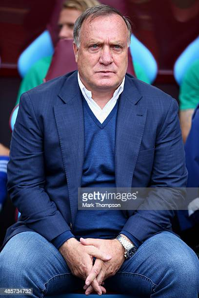 Dick Advocaat manager of Sunderland looks on before the Barclays Premier League match between Aston Villa and Sunderland at Villa Park on August 29...