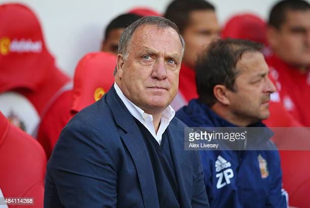 Dick Advocaat manager of Sunderland looks on during the Barclays Premier League match between Sunderland and Norwich City at the Stadium of Light on...