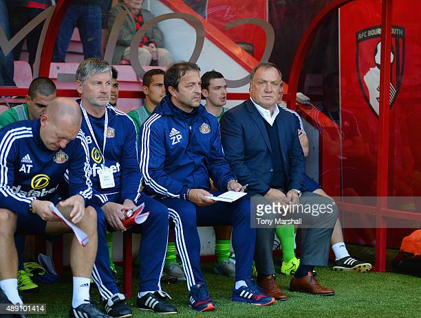 Dick Advocaat manager of Sunderland looks on during the Barclays Premier League match between AFC Bournemouth and Sunderland at Vitality Stadium on...