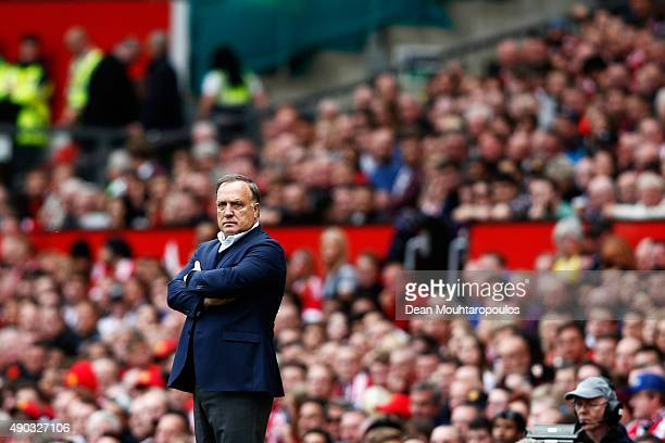 Dick Advocaat manager of Sunderland looks on during the Barclays Premier League match between Manchester United and Sunderland at Old Trafford on...
