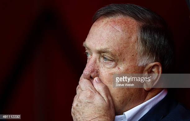 Dick Advocaat manager of Sunderland looks on prior to the Barclays Premier League match between Sunderland and West Ham United at the Stadium of...
