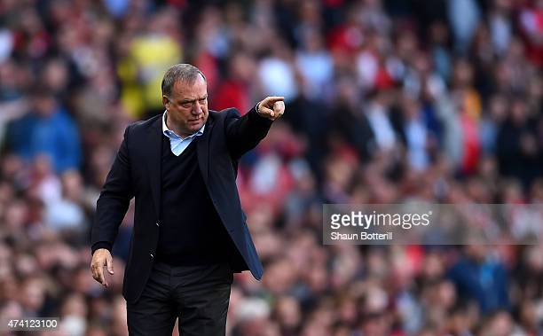 Dick Advocaat Manager of Sunderland reacts during the Barclays Premier League match between Arsenal and Sunderland at Emirates Stadium on May 20 2015...