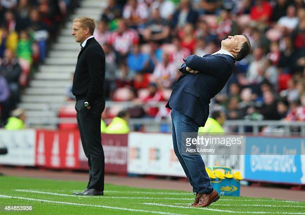 Dick Advocaat manager of Sunderland reacts during the Barclays Premier League match between Sunderland and Swansea City at the Stadium of Light on...