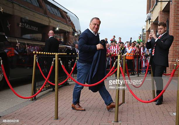 Dick Advocaat the manager of Sunderland arrives at Stadium of Light prior to the Barclays Premier League match between Sunderland and Swansea City at...