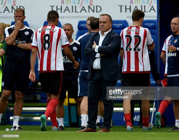 Dick Advocaat the Sunderland manager after the Barclays Premier League match between Leicester City and Sunderland at the King Power Stadium on...