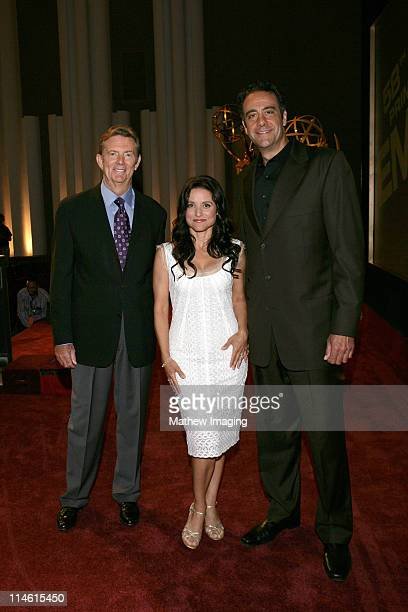 Dick Askin Chairman CEO of Academy of Television Arts Sciences Julia LouisDreyfus and Brad Garrett