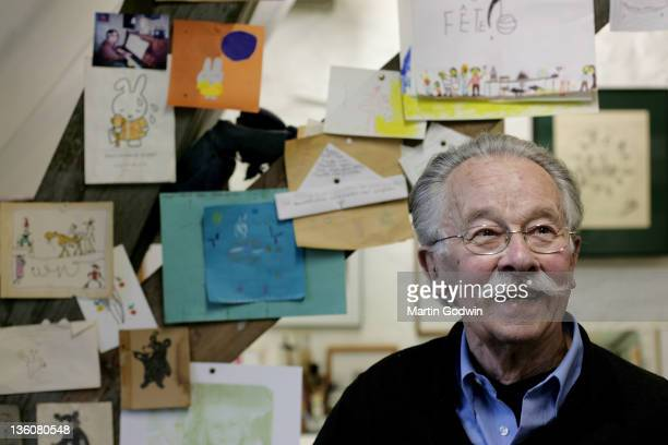 Dick Bruna author of the Miffy books artist illustrator and graphic designer in his studio Utrecht The Netherlands 2nd October 2010