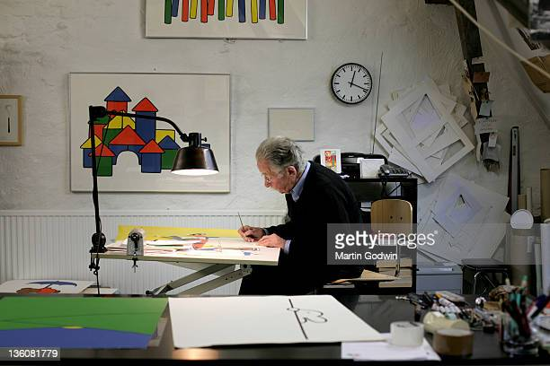 Dick Bruna author of the Miffy books artist illustrator and graphic designer working in his studio Utrecht The Netherlands 2nd October 2010