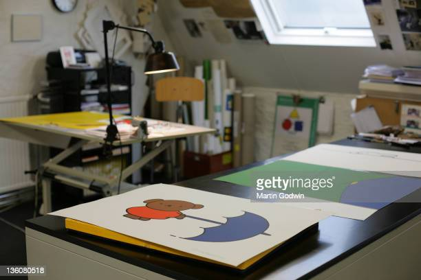 Dick Bruna's desk with his artwork author of the Miffy books artist illustrator and graphic designer in his studio Utrecht The Netherlands 2nd...