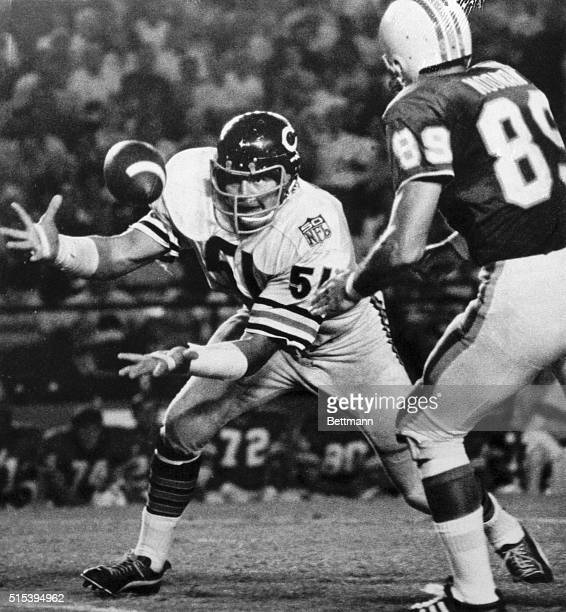 Dick Butkus reaches out to grab a Miami Dolphins pass to wide receiver Karl Noonan as the Chicago Bears met the Miami Dolphins in Miami's Orange Bowl...