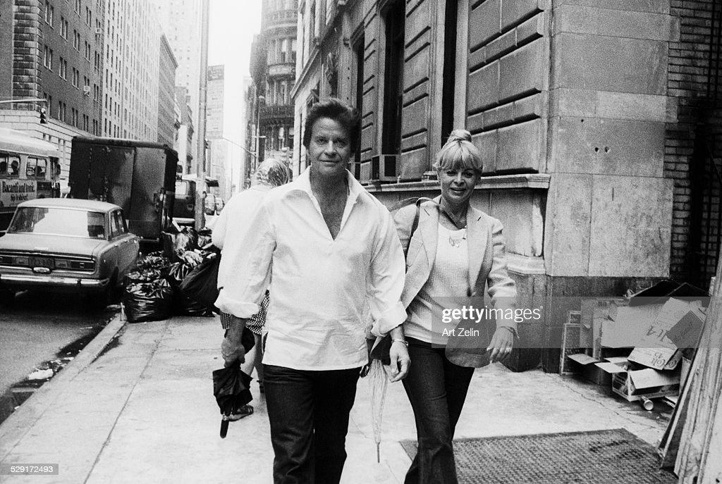 Dick Clark and his wife Kari Wigton walking on the street circa 1970 New York