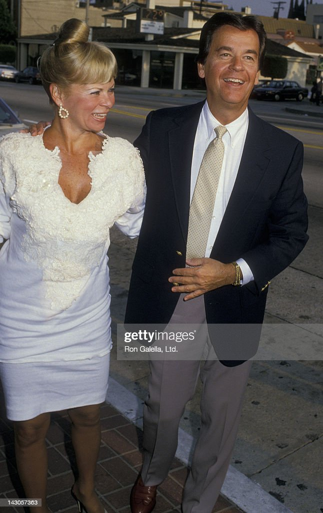 Dick Clark and wife Kari Clark attend 25th Anniversary Party for American Bandstand on September 14 1987 at Chasen's Restaurant in Beverly Hills...