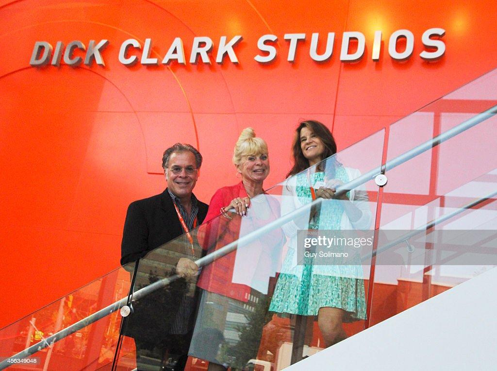 Dick Clark's family members RA Clark Kari Clark and Cindy Clark seen during the Dick Clark Studios dedication ceremony at the S I Newhouse School of...