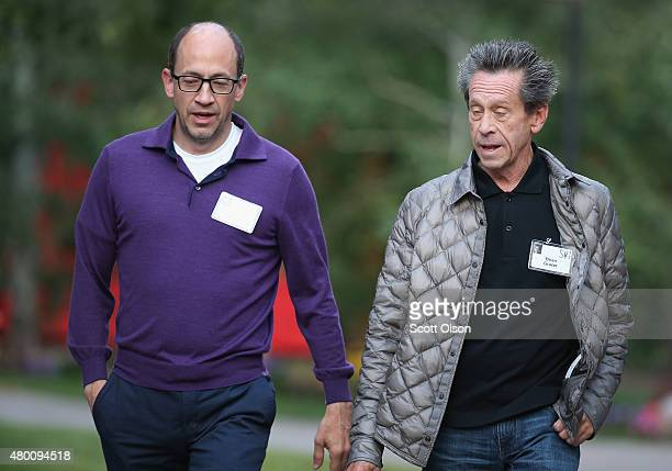Dick Costolo ceo of Twitter Inc chats with Brian Grazer cochairman of Imagine Entertainment at the Allen Company Sun Valley Conference on July 9 2015...