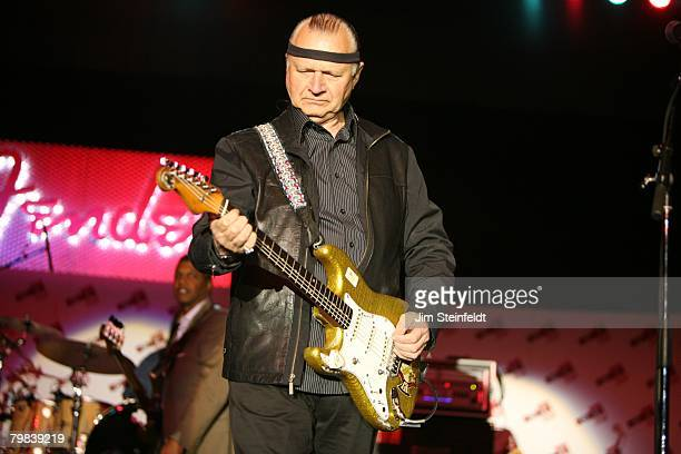 Dick Dale plays his gold Fender Stratocaster at the Marriott Hotel for the Fender NAMM party in Anaheim California on January 18 2008