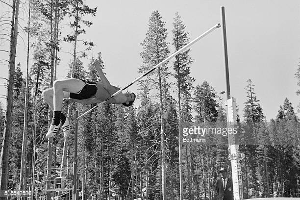 Dick Fosbury of Oregon State who does the high jump backwards clears the bar here at 7'3' to qualify as one of the three in this event who will...