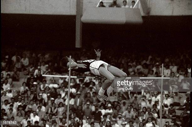 Dick Fosbury of the USA clears the bar in the high jump competiton with his dramtic new jumping style Few competitors have had such a dramatic impact...