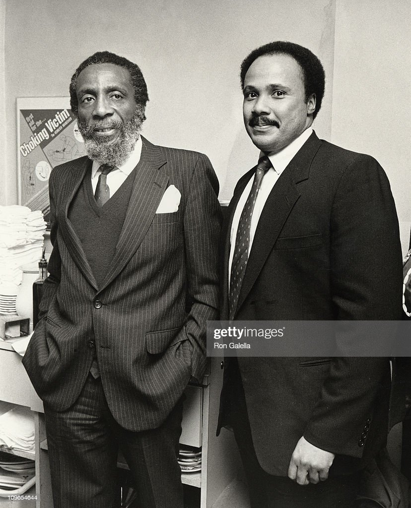 Dick Gregory and Martin Luther King III during 'Place of Weeping' Premiere Party December 3 1986 at Baronet Theater in New York City New York United...