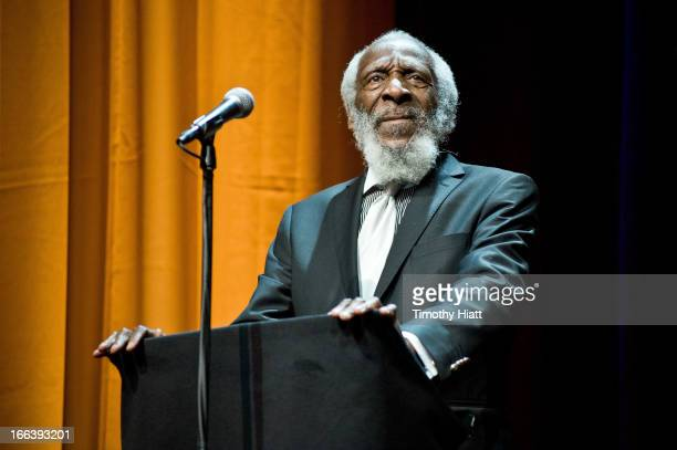 Dick Gregory attends the Roger Ebert Memorial Tribute at Chicago Theatre on April 11 2013 in Chicago Illinois