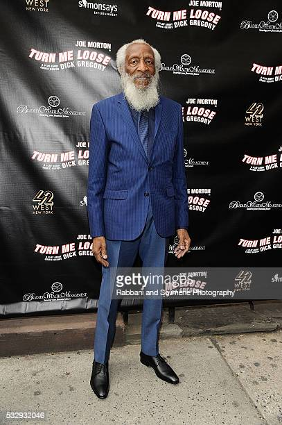 Dick Gregory attends 'Turn Me Loose' opening night at The Westside Theatre on May 19 2016