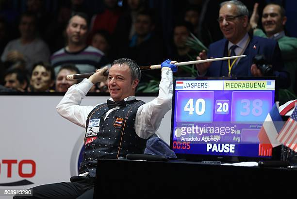 Dick Jaspers of Netherlands celebrates victory after the 2nd match of semifinal of the Carom Billiards 3 Cushion World Cup against Pedra Piedrabuena...