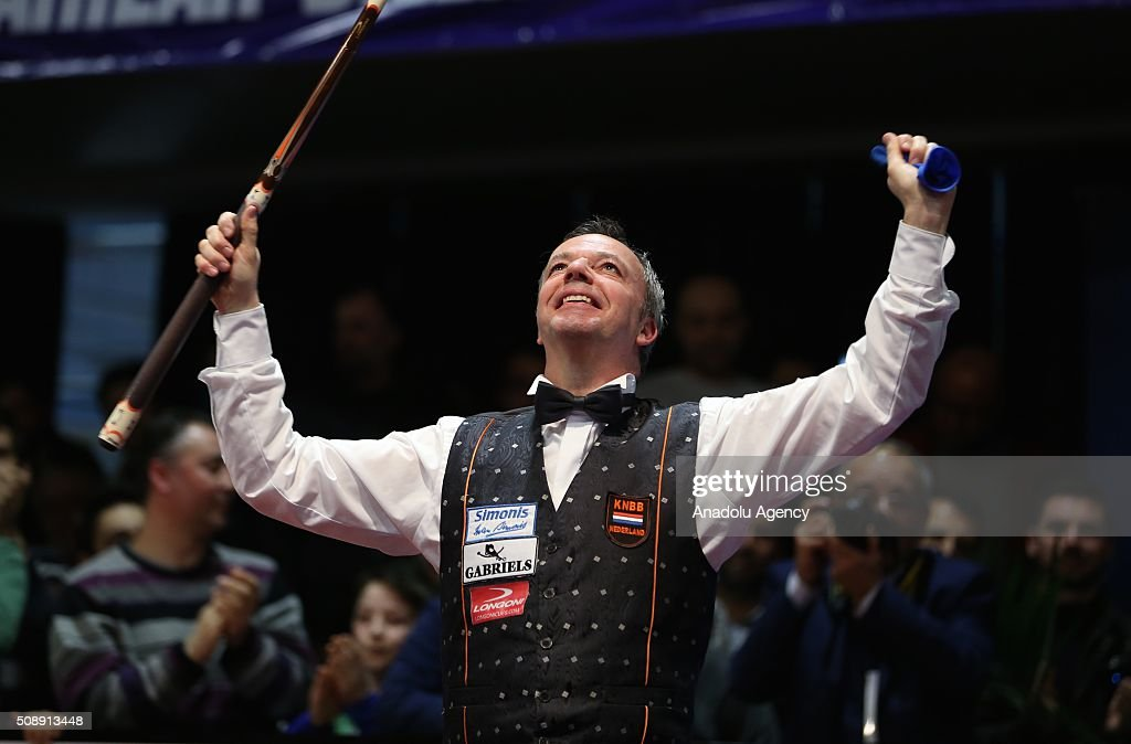 Dick Jaspers of Netherlands celebrates victory as he wins the World Cup after the final match of the Carom Billiards 3 Cushion World Cup against Frederic Coudron (not seen) of Belgium, in Bursa, Turkey on February 7, 2016.