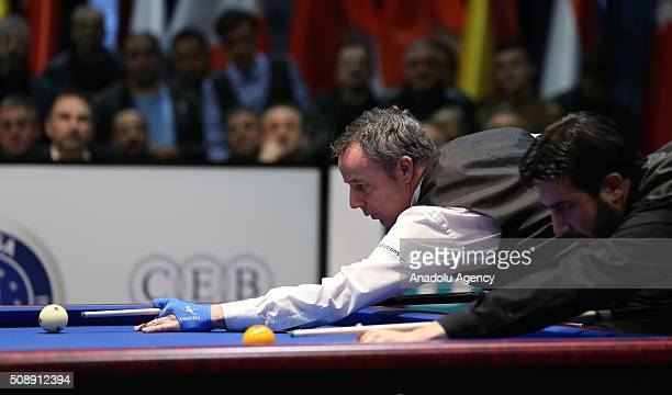 Dick Jaspers of Netherlands competes against Pedra Piedrabuena of USA during 2nd match of semifinal of the Carom Billiards 3 Cushion World Cup in...