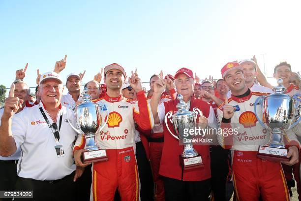 Dick Johnson team owner of DJR Team Penske Fabian Coulthard driver of the Shell VPower Racing Team Ford Falcon FGX Roger Penske team owner of DJR...