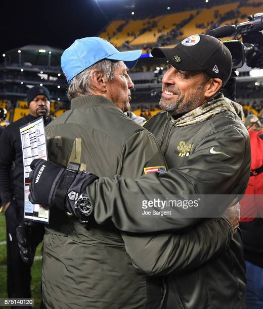 Dick LeBeau of the Tennessee Titans hugs Todd Haley of the Pittsburgh Steelers at the conclusion of the Pittsburgh Steelers 4017 win over the...