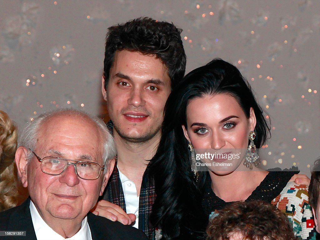 Dick Mayer, singers <a gi-track='captionPersonalityLinkClicked' href=/galleries/search?phrase=Katy+Perry&family=editorial&specificpeople=599558 ng-click='$event.stopPropagation()'>Katy Perry</a> and <a gi-track='captionPersonalityLinkClicked' href=/galleries/search?phrase=John+Mayer&family=editorial&specificpeople=201930 ng-click='$event.stopPropagation()'>John Mayer</a> visit the cast of Broadway's 'A Christmas Story, The Musical' at the Lunt-Fontanne Theatre on December 12, 2012 in New York City.