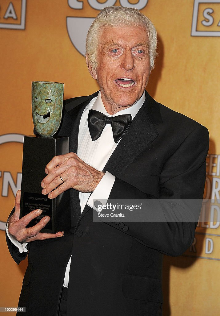 Dick Van Dyke poses at the 19th Annual Screen Actors Guild Awards at The Shrine Auditorium on January 27, 2013 in Los Angeles, California.