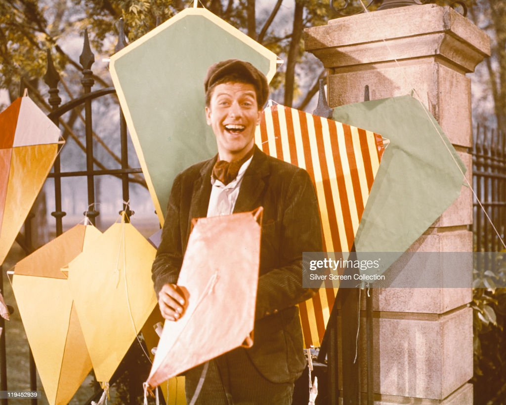 Dick Van Dyke US actor poses with a variety of kites in a publicity still for the film 'Mary Poppins' USA 1964 The film musical directed by Robert...