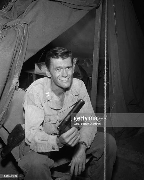 Dick York as Captain Riker in 'The Purple Testament' from season 1 episode 19 of CBS' science fiction television series 'The Twilight Zone' September...